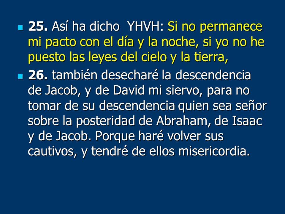 25. Así ha dicho YHVH: Si no permanece mi pacto con el día y la noche, si yo no he puesto las leyes del cielo y la tierra, 25. Así ha dicho YHVH: Si n