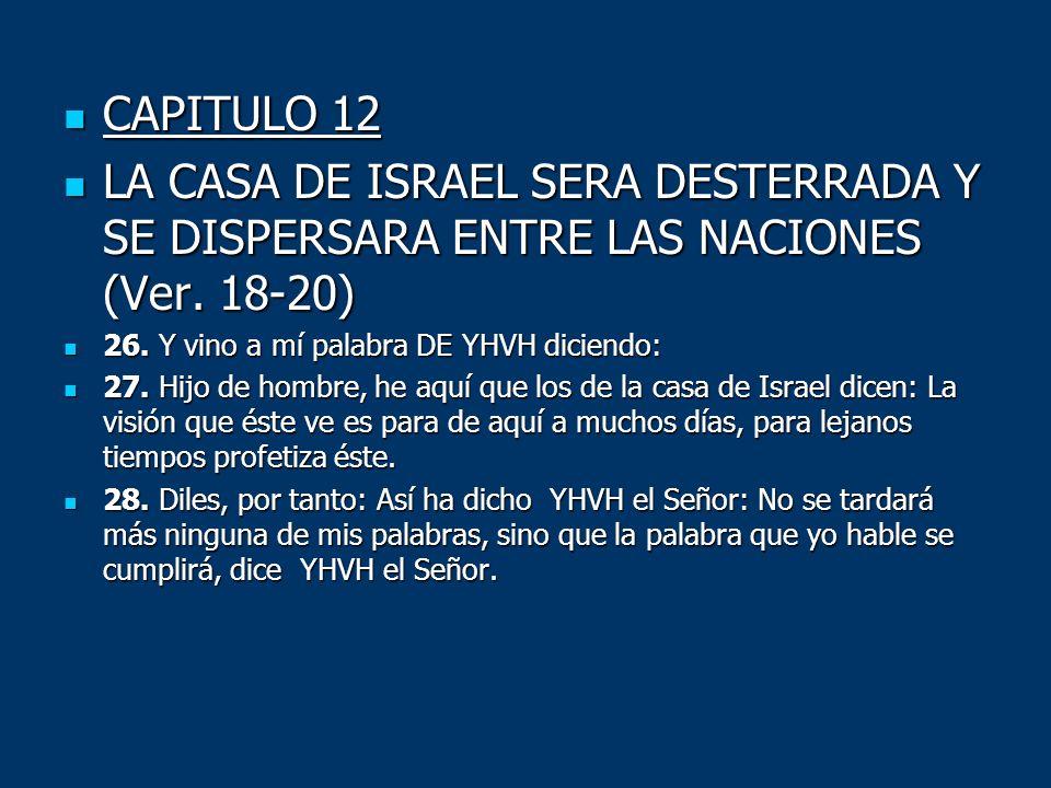 CAPITULO 12 CAPITULO 12 LA CASA DE ISRAEL SERA DESTERRADA Y SE DISPERSARA ENTRE LAS NACIONES (Ver. 18-20) LA CASA DE ISRAEL SERA DESTERRADA Y SE DISPE