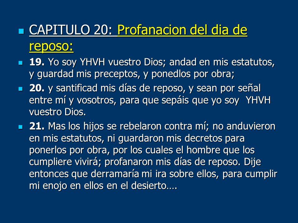 CAPITULO 20: Profanacion del dia de reposo: CAPITULO 20: Profanacion del dia de reposo: 19. Yo soy YHVH vuestro Dios; andad en mis estatutos, y guarda
