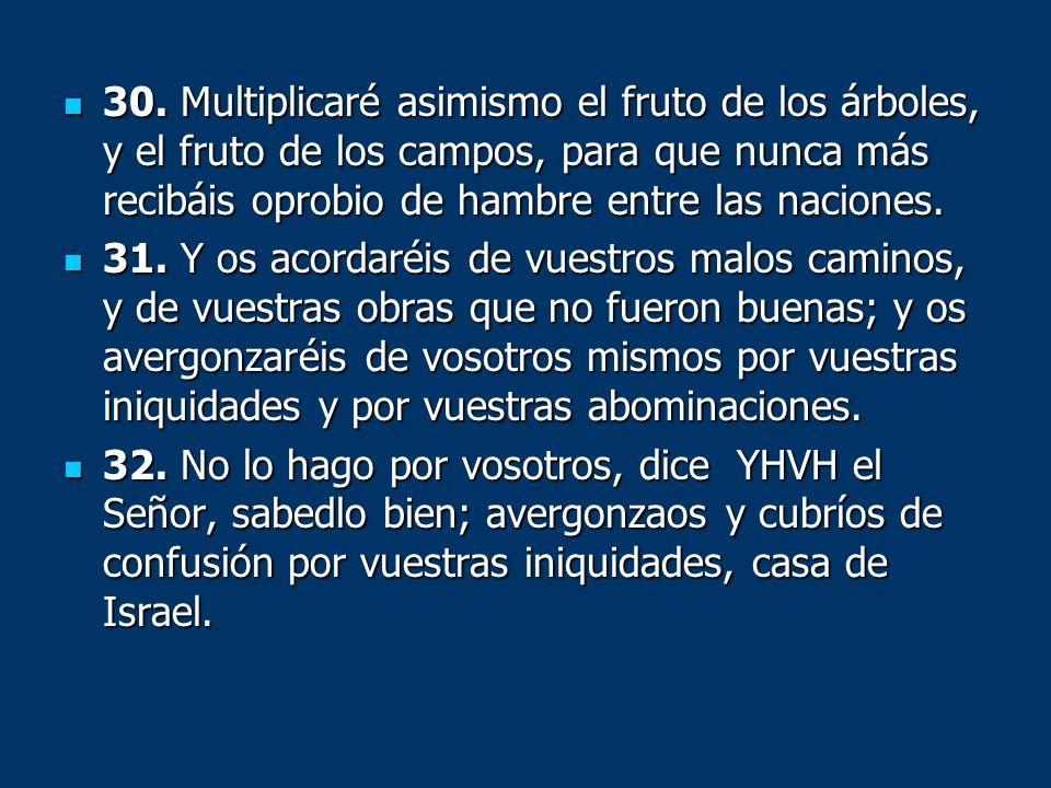 30. Multiplicaré asimismo el fruto de los árboles, y el fruto de los campos, para que nunca más recibáis oprobio de hambre entre las naciones. 30. Mul