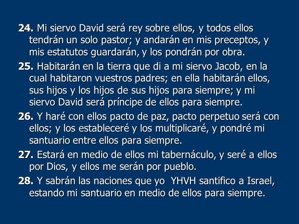 24. Mi siervo David será rey sobre ellos, y todos ellos tendrán un solo pastor; y andarán en mis preceptos, y mis estatutos guardarán, y los pondrán p