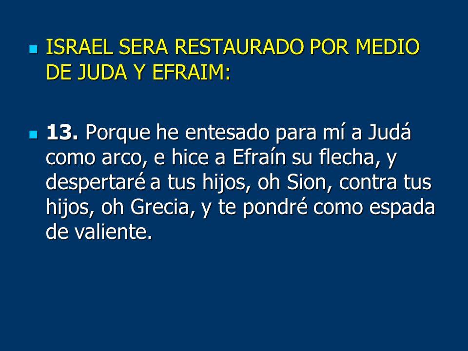 ISRAEL SERA RESTAURADO POR MEDIO DE JUDA Y EFRAIM: ISRAEL SERA RESTAURADO POR MEDIO DE JUDA Y EFRAIM: 13. Porque he entesado para mí a Judá como arco,