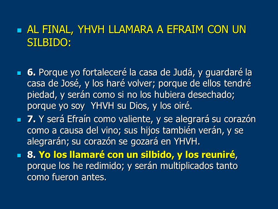 AL FINAL, YHVH LLAMARA A EFRAIM CON UN SILBIDO: AL FINAL, YHVH LLAMARA A EFRAIM CON UN SILBIDO: 6. Porque yo fortaleceré la casa de Judá, y guardaré l