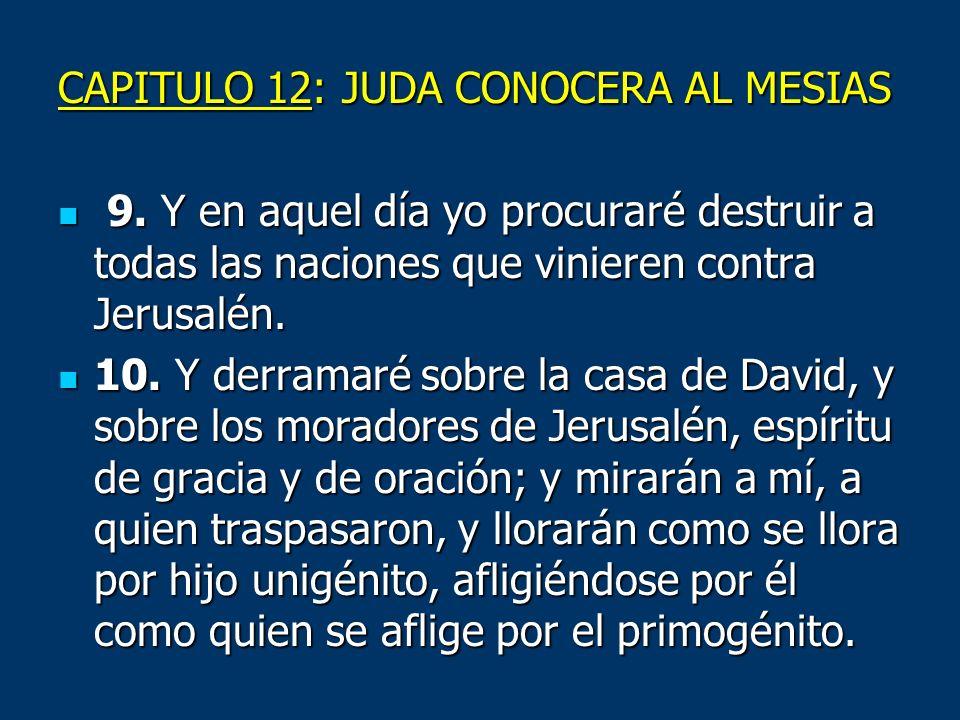 CAPITULO 12: JUDA CONOCERA AL MESIAS 9. Y en aquel día yo procuraré destruir a todas las naciones que vinieren contra Jerusalén. 9. Y en aquel día yo
