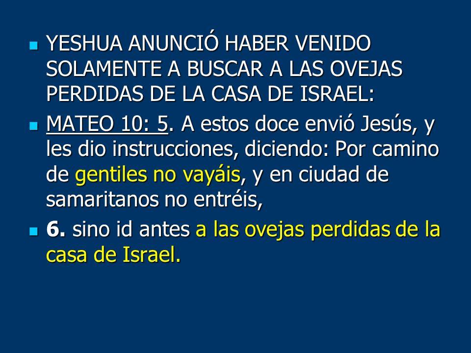 YESHUA ANUNCIÓ HABER VENIDO SOLAMENTE A BUSCAR A LAS OVEJAS PERDIDAS DE LA CASA DE ISRAEL: YESHUA ANUNCIÓ HABER VENIDO SOLAMENTE A BUSCAR A LAS OVEJAS