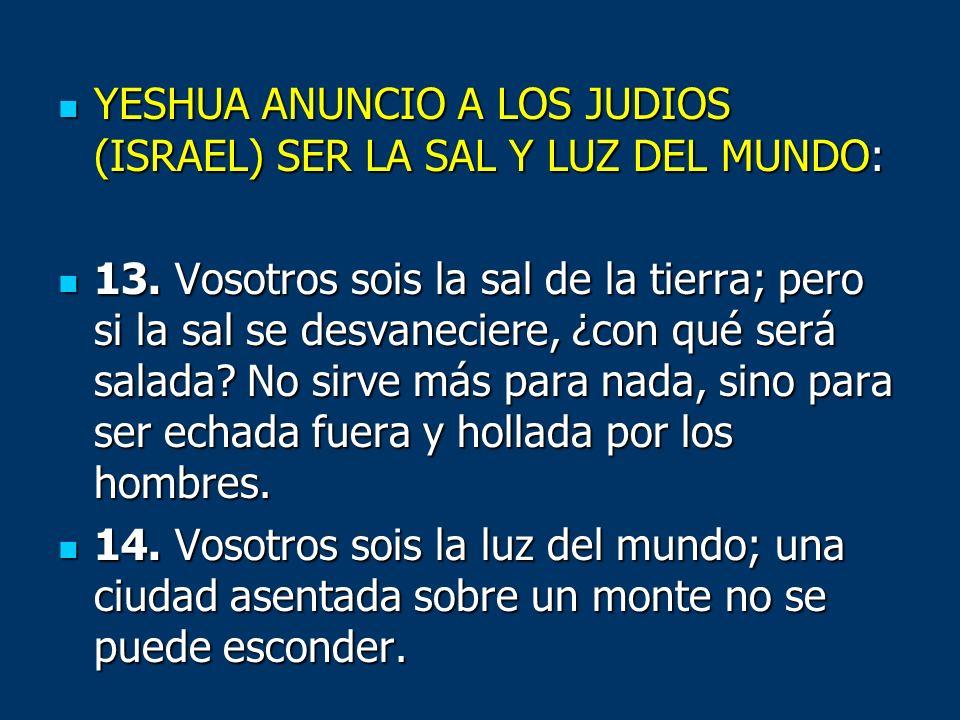 YESHUA ANUNCIO A LOS JUDIOS (ISRAEL) SER LA SAL Y LUZ DEL MUNDO: YESHUA ANUNCIO A LOS JUDIOS (ISRAEL) SER LA SAL Y LUZ DEL MUNDO: 13. Vosotros sois la