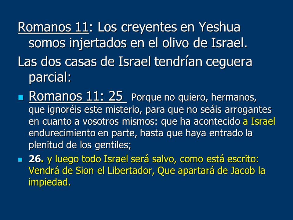 Romanos 11: Los creyentes en Yeshua somos injertados en el olivo de Israel. Las dos casas de Israel tendrían ceguera parcial: Romanos 11: 25 Porque no