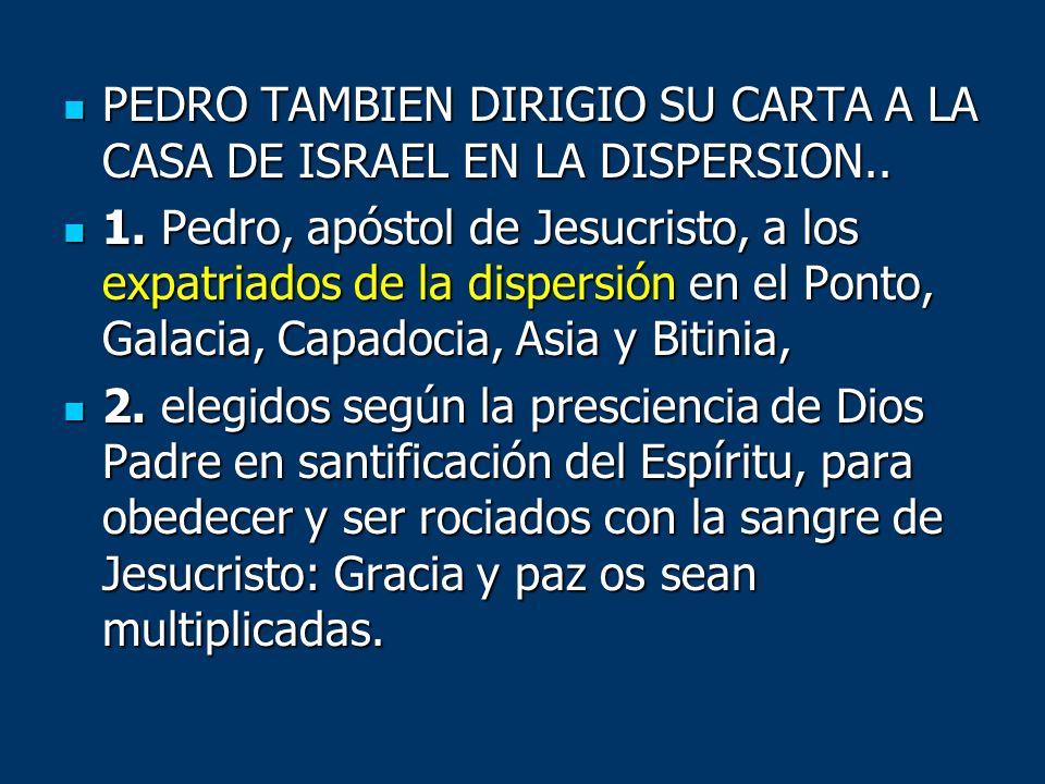 PEDRO TAMBIEN DIRIGIO SU CARTA A LA CASA DE ISRAEL EN LA DISPERSION.. PEDRO TAMBIEN DIRIGIO SU CARTA A LA CASA DE ISRAEL EN LA DISPERSION.. 1. Pedro,