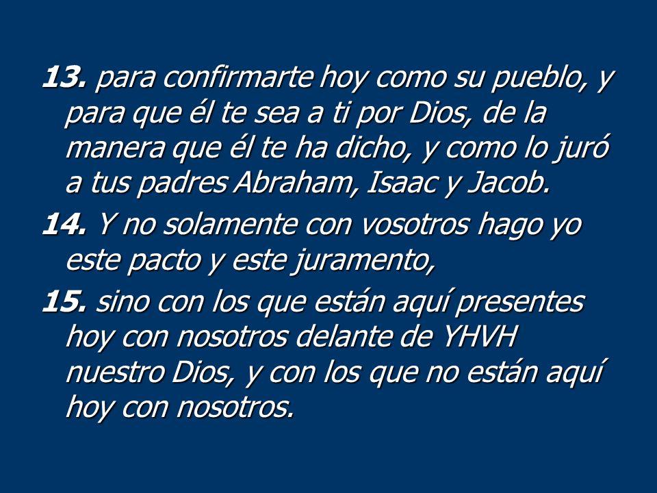 13. para confirmarte hoy como su pueblo, y para que él te sea a ti por Dios, de la manera que él te ha dicho, y como lo juró a tus padres Abraham, Isa
