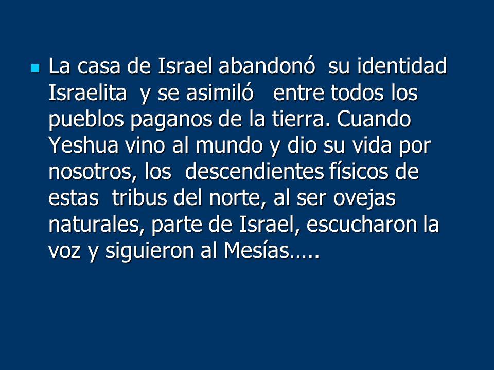La casa de Israel abandonó su identidad Israelita y se asimiló entre todos los pueblos paganos de la tierra. Cuando Yeshua vino al mundo y dio su vida