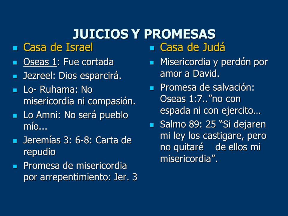 JUICIOS Y PROMESAS Casa de Israel Casa de Israel Oseas 1: Fue cortada Oseas 1: Fue cortada Jezreel: Dios esparcirá. Jezreel: Dios esparcirá. Lo- Ruham