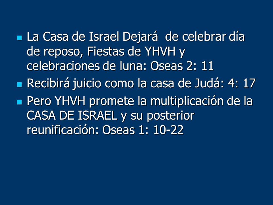 La Casa de Israel Dejará de celebrar día de reposo, Fiestas de YHVH y celebraciones de luna: Oseas 2: 11 La Casa de Israel Dejará de celebrar día de r