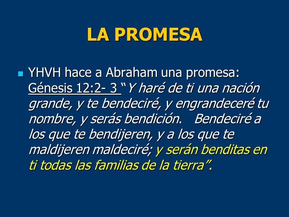 LA PROMESA YHVH hace a Abraham una promesa: Génesis 12:2- 3 Y haré de ti una nación grande, y te bendeciré, y engrandeceré tu nombre, y serás bendició