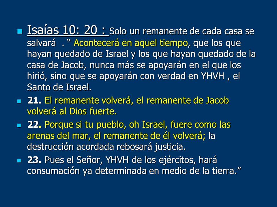 Isaías 10: 20 : Solo un remanente de cada casa se salvará. Acontecerá en aquel tiempo, que los que hayan quedado de Israel y los que hayan quedado de