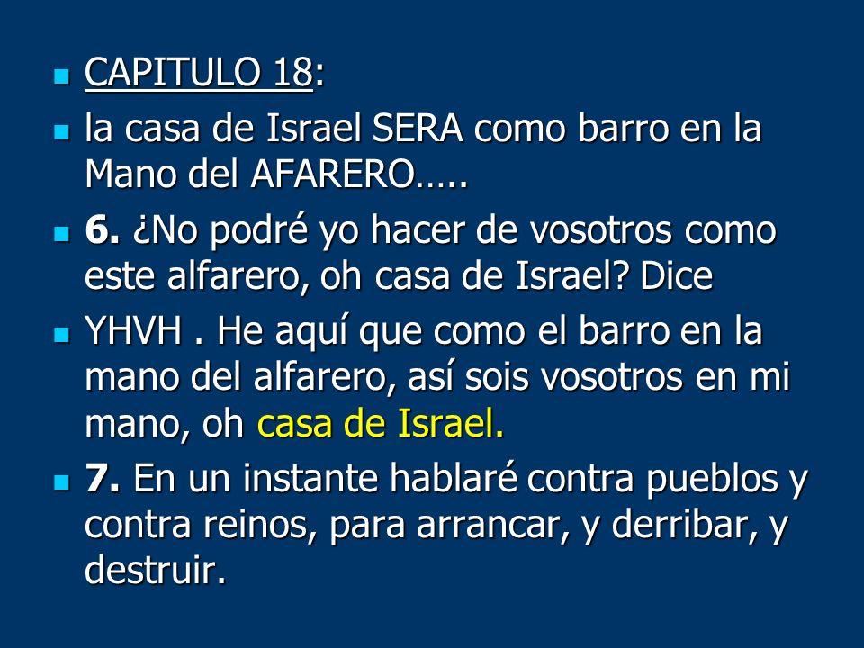 CAPITULO 18: CAPITULO 18: la casa de Israel SERA como barro en la Mano del AFARERO….. la casa de Israel SERA como barro en la Mano del AFARERO….. 6. ¿