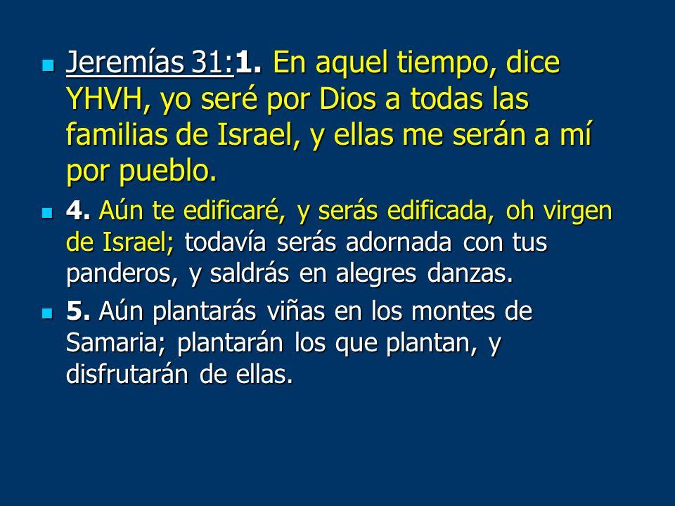 Jeremías 31:1. En aquel tiempo, dice YHVH, yo seré por Dios a todas las familias de Israel, y ellas me serán a mí por pueblo. Jeremías 31:1. En aquel