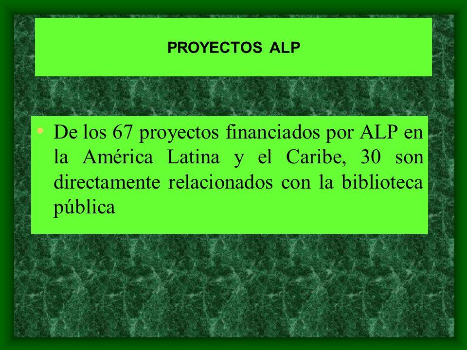 PROYECTOS ALP De los 67 proyectos financiados por ALP en la América Latina y el Caribe, 30 son directamente relacionados con la biblioteca pública