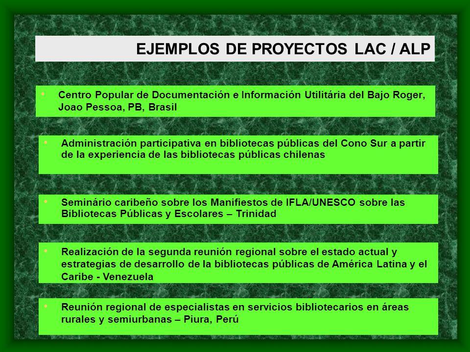 EJEMPLOS DE PROYECTOS LAC / ALP Centro Popular de Documentación e Información Utilitária del Bajo Roger, Joao Pessoa, PB, Brasil Administración partic