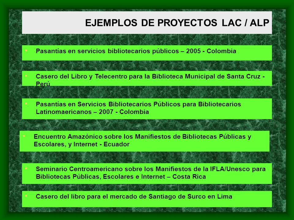 EJEMPLOS DE PROYECTOS LAC / ALP Pasantías en servicios bibliotecarios públicos – 2005 - Colombia Casero del Libro y Telecentro para la Biblioteca Muni