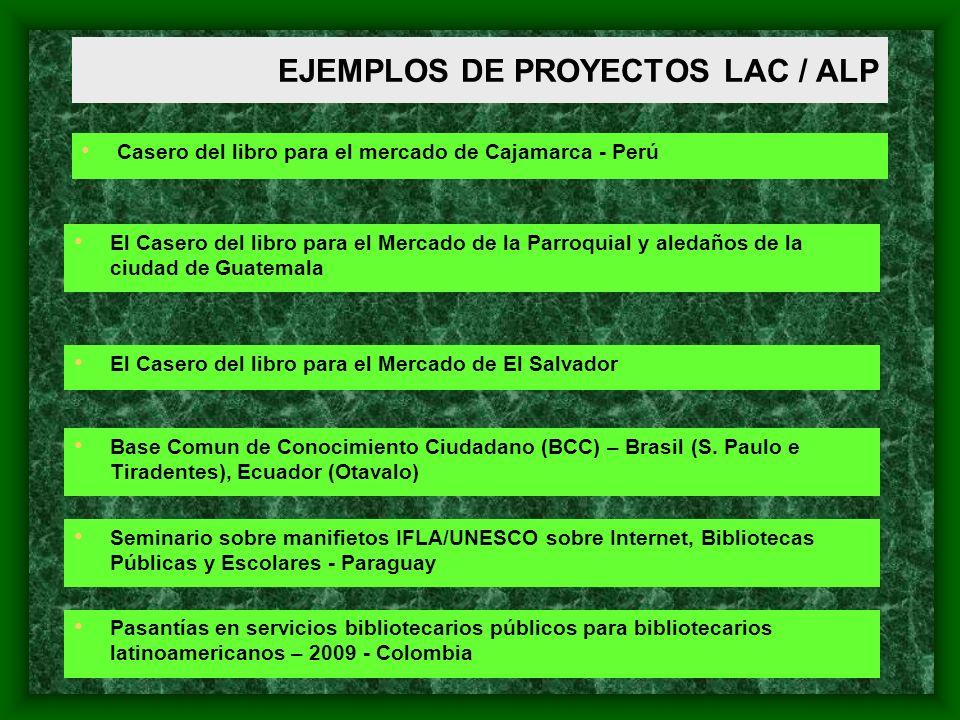EJEMPLOS DE PROYECTOS LAC / ALP Casero del libro para el mercado de Cajamarca - Perú El Casero del libro para el Mercado de la Parroquial y aledaños d
