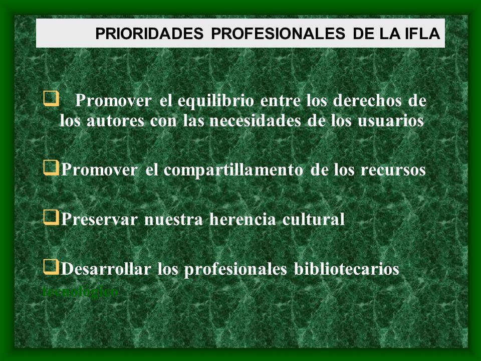 Promover standards, lineamientos y mejores practicas Apoyar la infraestructura de las Asociaciones de Bibliotecarios Representar las bibliotecas en el mercado PRIORIDADES PROFESIONALES DE LA IFLA