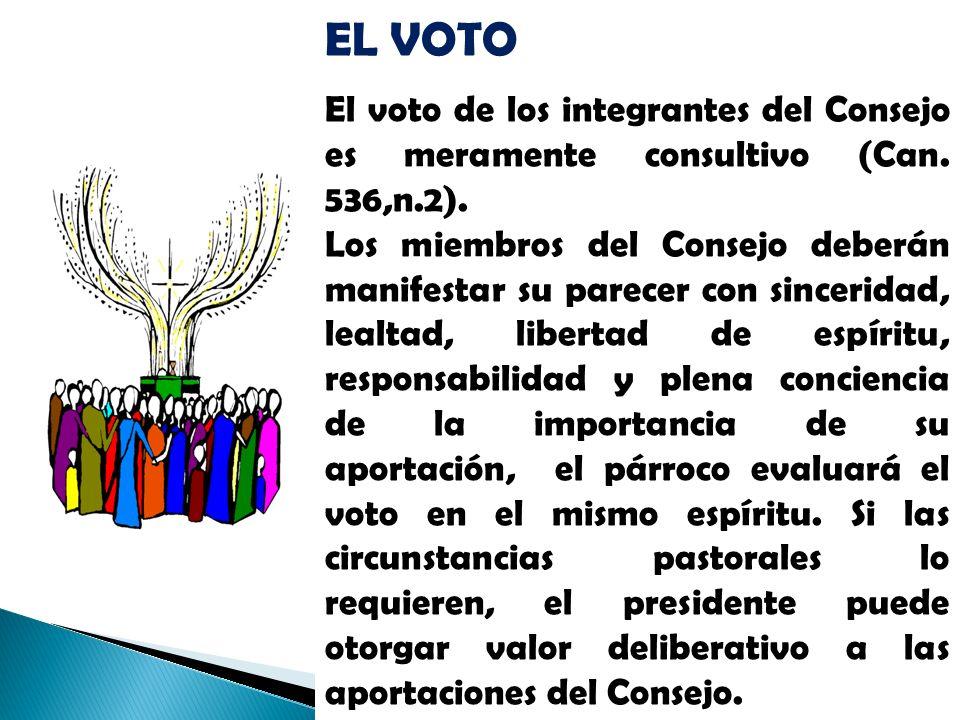 EL VOTO El voto de los integrantes del Consejo es meramente consultivo (Can. 536,n.2). Los miembros del Consejo deberán manifestar su parecer con sinc