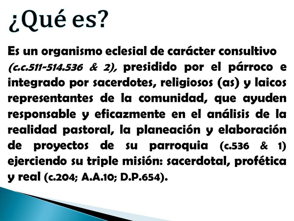 Es un organismo eclesial de carácter consultivo (c.c.511-514.536 & 2), presidido por el párroco e integrado por sacerdotes, religiosos (as) y laicos r