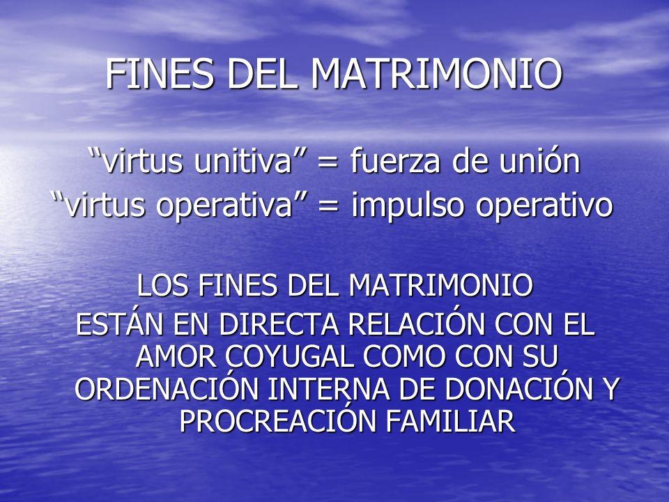 FINES DEL MATRIMONIO FINES DEL MATRIMONIO virtus unitiva = fuerza de unión virtus operativa = impulso operativo virtus operativa = impulso operativo L