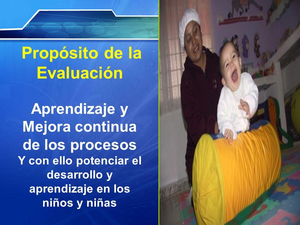 Propósito de la Evaluación Aprendizaje y Mejora continua de los procesos Y con ello potenciar el desarrollo y aprendizaje en los niños y niñas