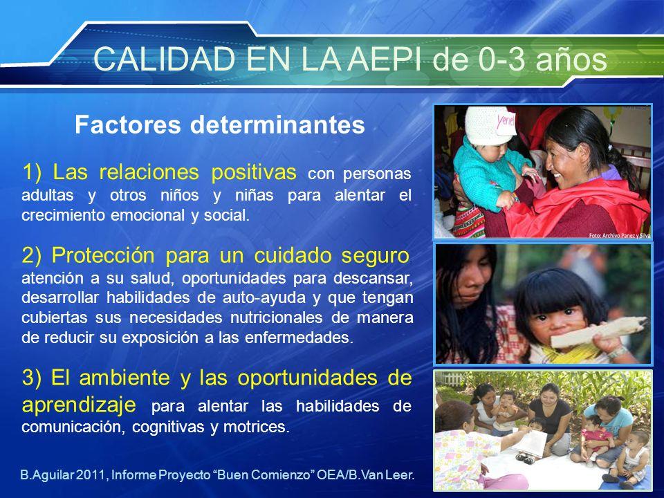 3) El ambiente y las oportunidades de aprendizaje para alentar las habilidades de comunicación, cognitivas y motrices. 1) Las relaciones positivas con