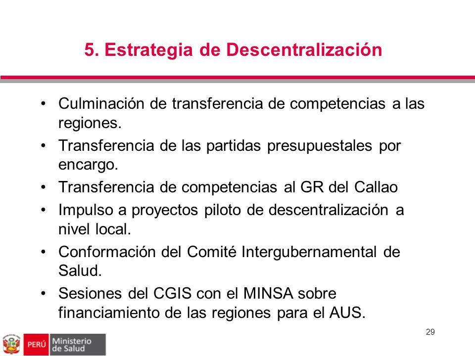 5. Estrategia de Descentralización 29 Culminación de transferencia de competencias a las regiones. Transferencia de las partidas presupuestales por en