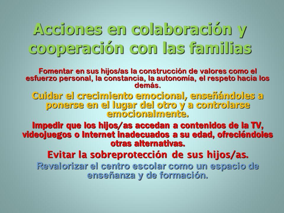 Acciones en colaboración y cooperación con las familias Dar modelos positivos e intentar resolver los conflictos sin aceptar la violencia. Ejercicio d
