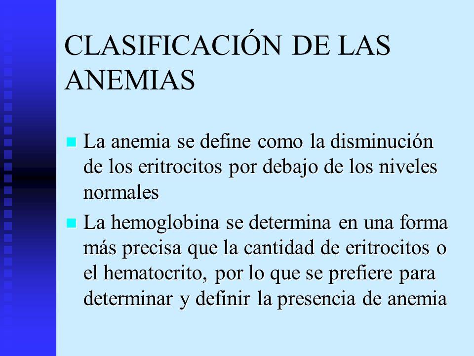 CLASIFICACIÓN DE LAS ANEMIAS La anemia se define como la disminución de los eritrocitos por debajo de los niveles normales La anemia se define como la