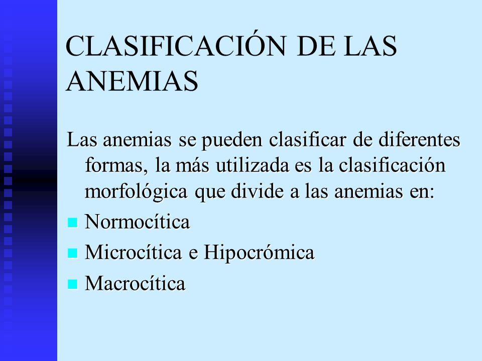 CLASIFICACIÓN DE LAS ANEMIAS Las anemias se pueden clasificar de diferentes formas, la más utilizada es la clasificación morfológica que divide a las