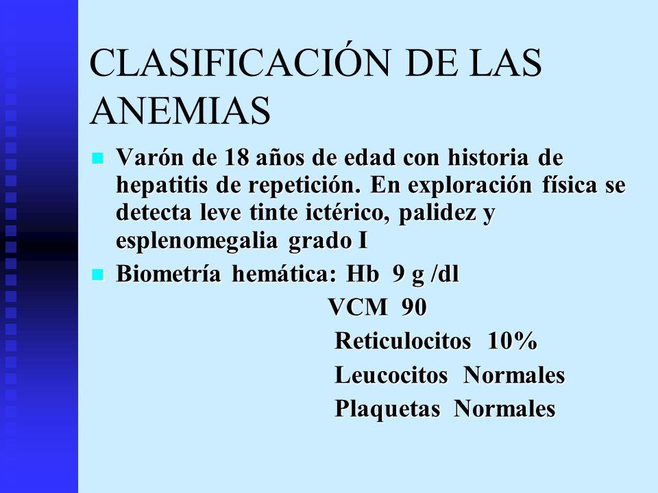 CLASIFICACIÓN DE LAS ANEMIAS Varón de 18 años de edad con historia de hepatitis de repetición. En exploración física se detecta leve tinte ictérico, p