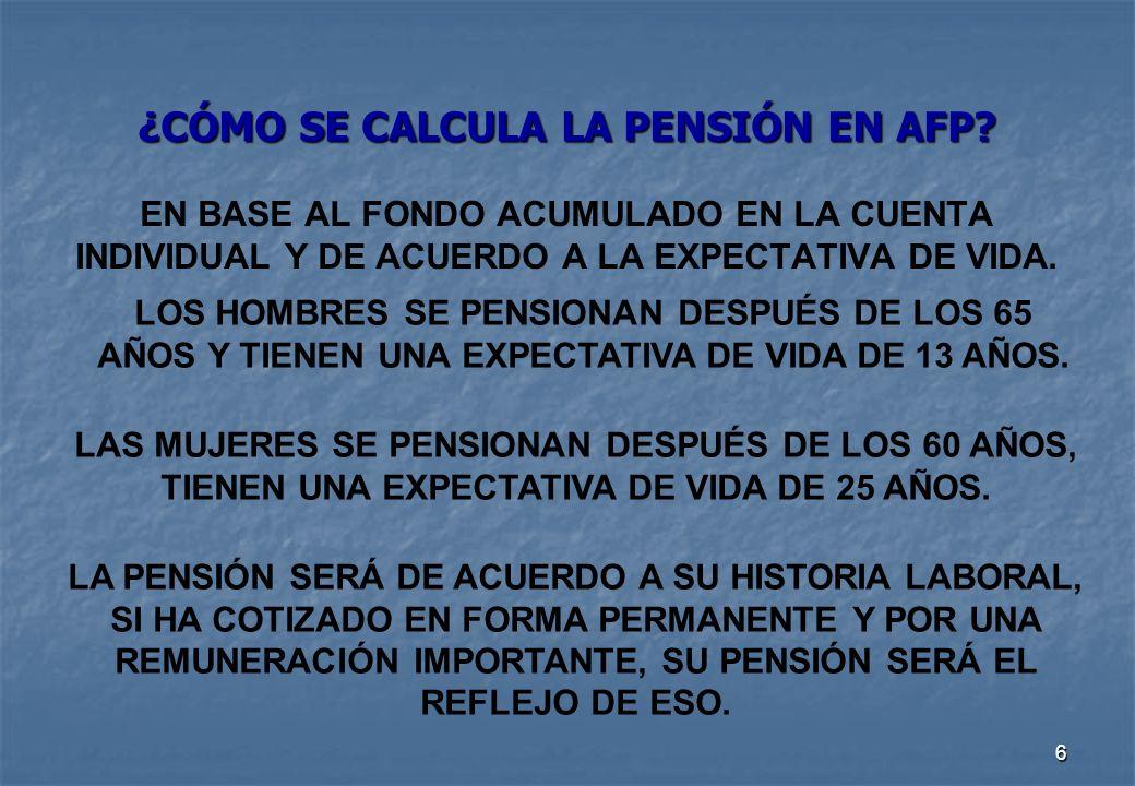 6 ¿CÓMO SE CALCULA LA PENSIÓN EN AFP.