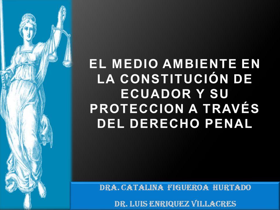 DRA. CATALINA FIGUEROA HURTADO DR. LUIS ENRIQUEZ VILLACRES EL MEDIO AMBIENTE EN LA CONSTITUCIÓN DE ECUADOR Y SU PROTECCION A TRAVÉS DEL DERECHO PENAL