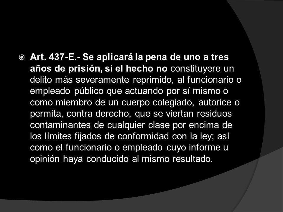 Art. 437-E.- Se aplicará la pena de uno a tres años de prisión, si el hecho no constituyere un delito más severamente reprimido, al funcionario o empl