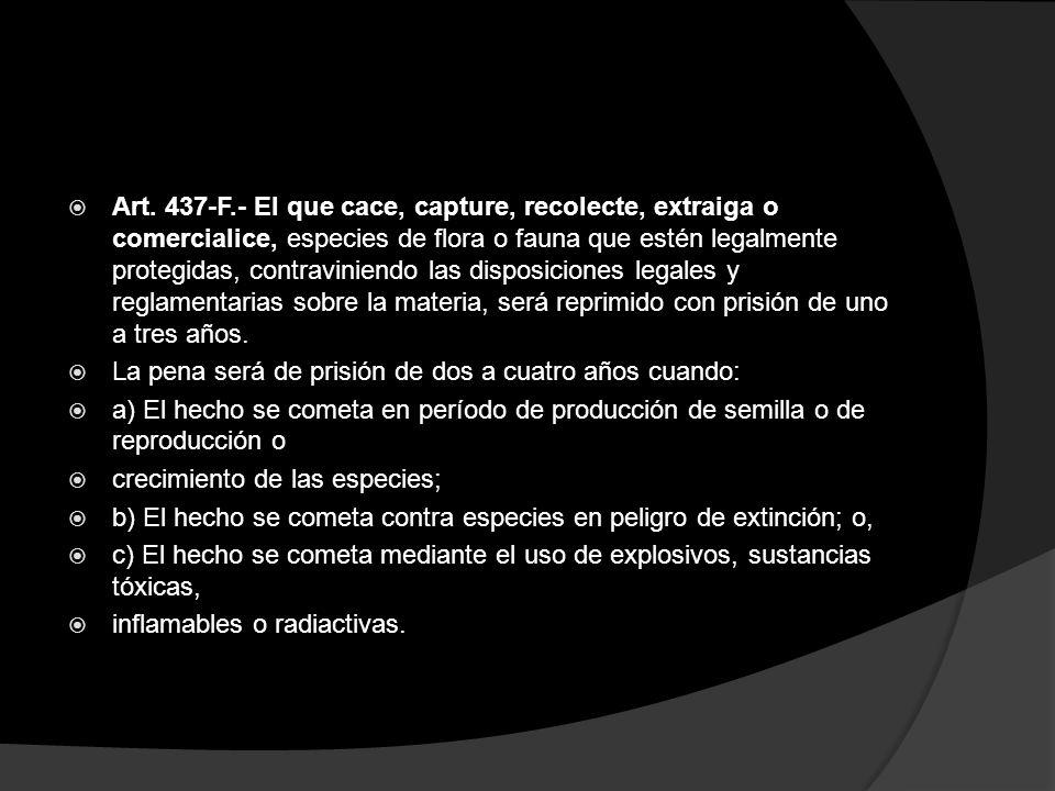 Art. 437-F.- El que cace, capture, recolecte, extraiga o comercialice, especies de flora o fauna que estén legalmente protegidas, contraviniendo las d