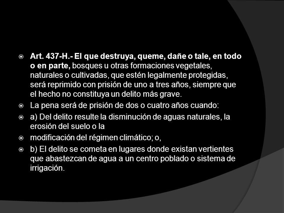 Art. 437-H.- El que destruya, queme, dañe o tale, en todo o en parte, bosques u otras formaciones vegetales, naturales o cultivadas, que estén legalme