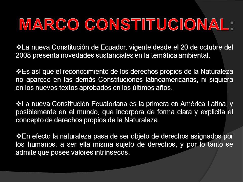 La nueva Constitución de Ecuador, vigente desde el 20 de octubre del 2008 presenta novedades sustanciales en la temática ambiental. Es así que el reco