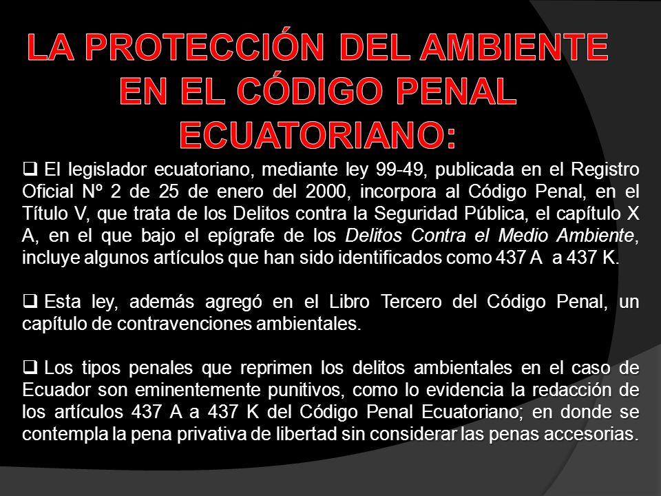 El legislador ecuatoriano, mediante ley 99-49, publicada en el Registro Oficial Nº 2 de 25 de enero del 2000, incorpora al Código Penal, en el Título