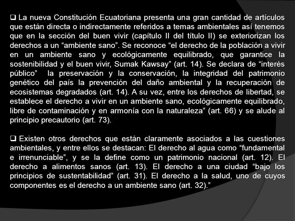 La nueva Constitución Ecuatoriana presenta una gran cantidad de artículos que están directa o indirectamente referidos a temas ambientales así tenemos