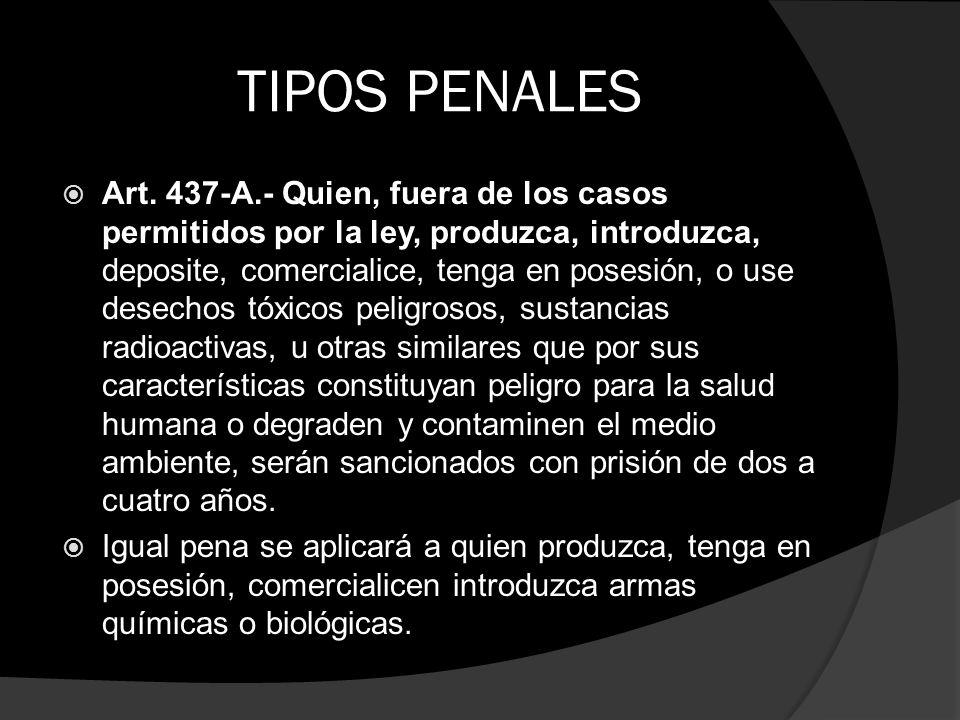 TIPOS PENALES Art. 437-A.- Quien, fuera de los casos permitidos por la ley, produzca, introduzca, deposite, comercialice, tenga en posesión, o use des