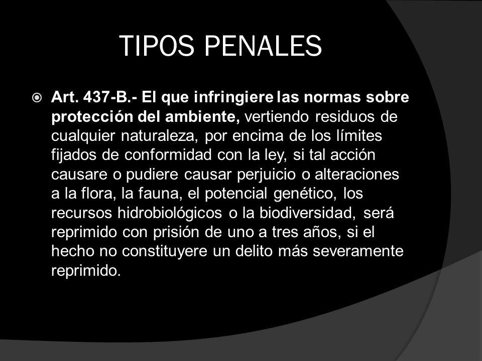 TIPOS PENALES Art. 437-B.- El que infringiere las normas sobre protección del ambiente, vertiendo residuos de cualquier naturaleza, por encima de los