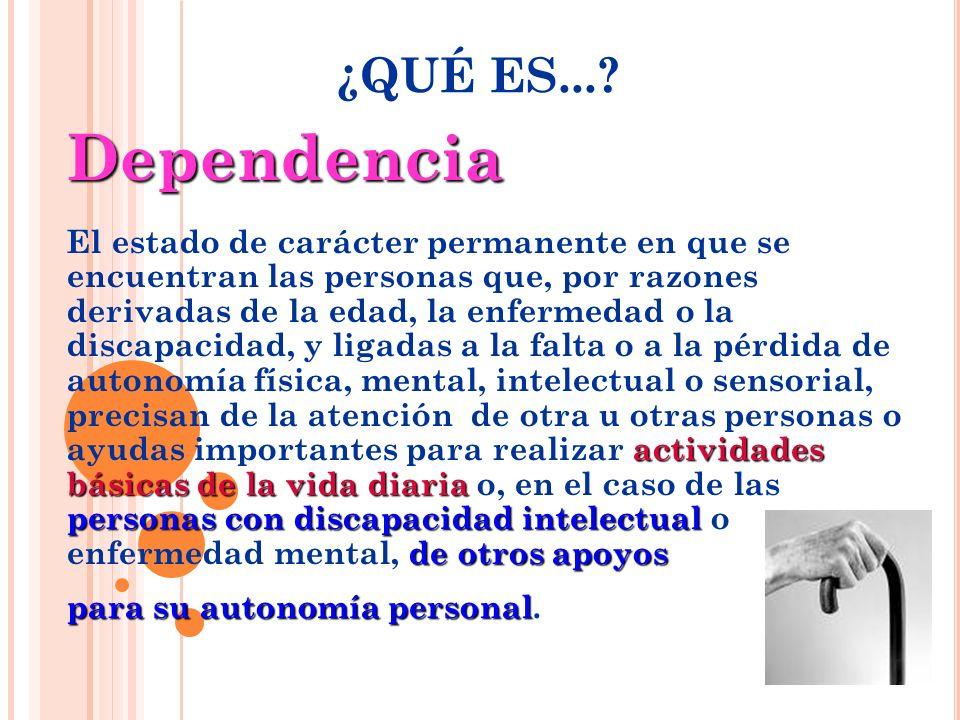 Dependencia actividades básicas de la vida diaria personas con discapacidad intelectual de otros apoyos El estado de carácter permanente en que se enc