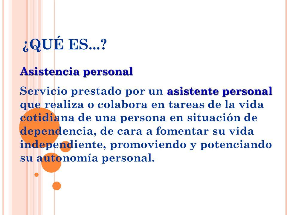 Asistencia personal asistente personal Servicio prestado por un asistente personal que realiza o colabora en tareas de la vida cotidiana de una person