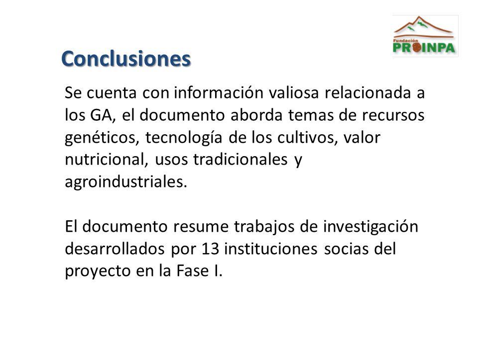 Conclusiones Se cuenta con información valiosa relacionada a los GA, el documento aborda temas de recursos genéticos, tecnología de los cultivos, valo