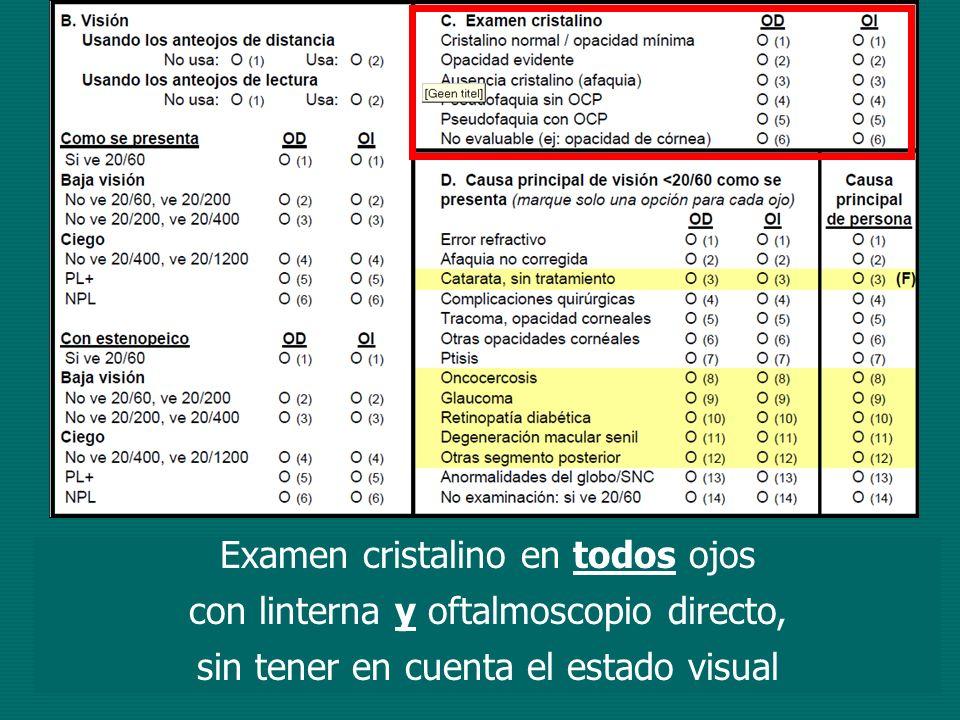 Examen cristalino en todos ojos con linterna y oftalmoscopio directo, sin tener en cuenta el estado visual