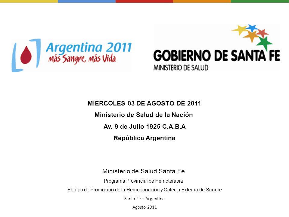 Ministerio de Salud Santa Fe Programa Provincial de Hemoterapia Equipo de Promoción de la Hemodonación y Colecta Externa de Sangre Santa Fe – Argentin